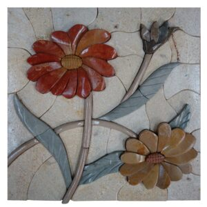 Wonderous Two Flower Cluster Marble Stone Mosaic Art