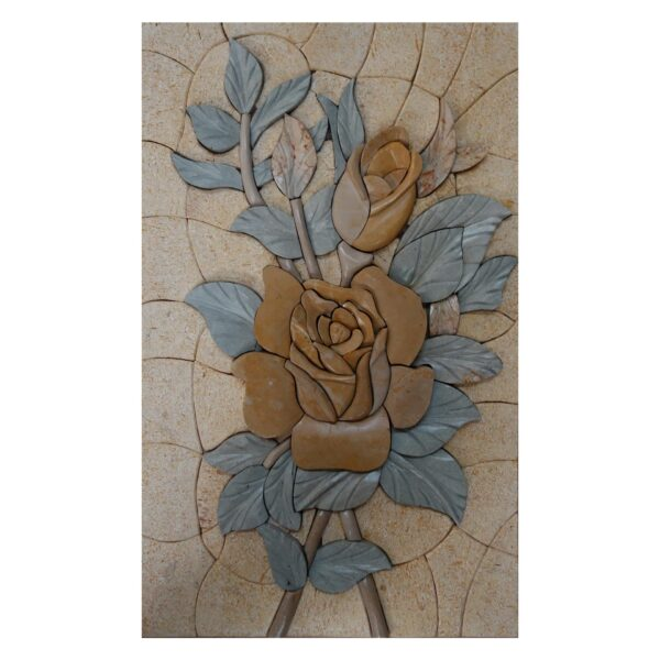 Yellow Flower and Blue Leaves Marble Stone Mosaic Art
