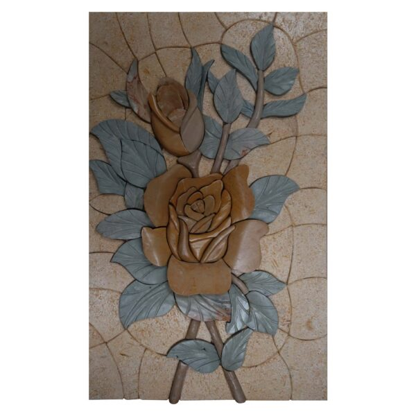 Big Flowers Marble Stone Mosaic Art