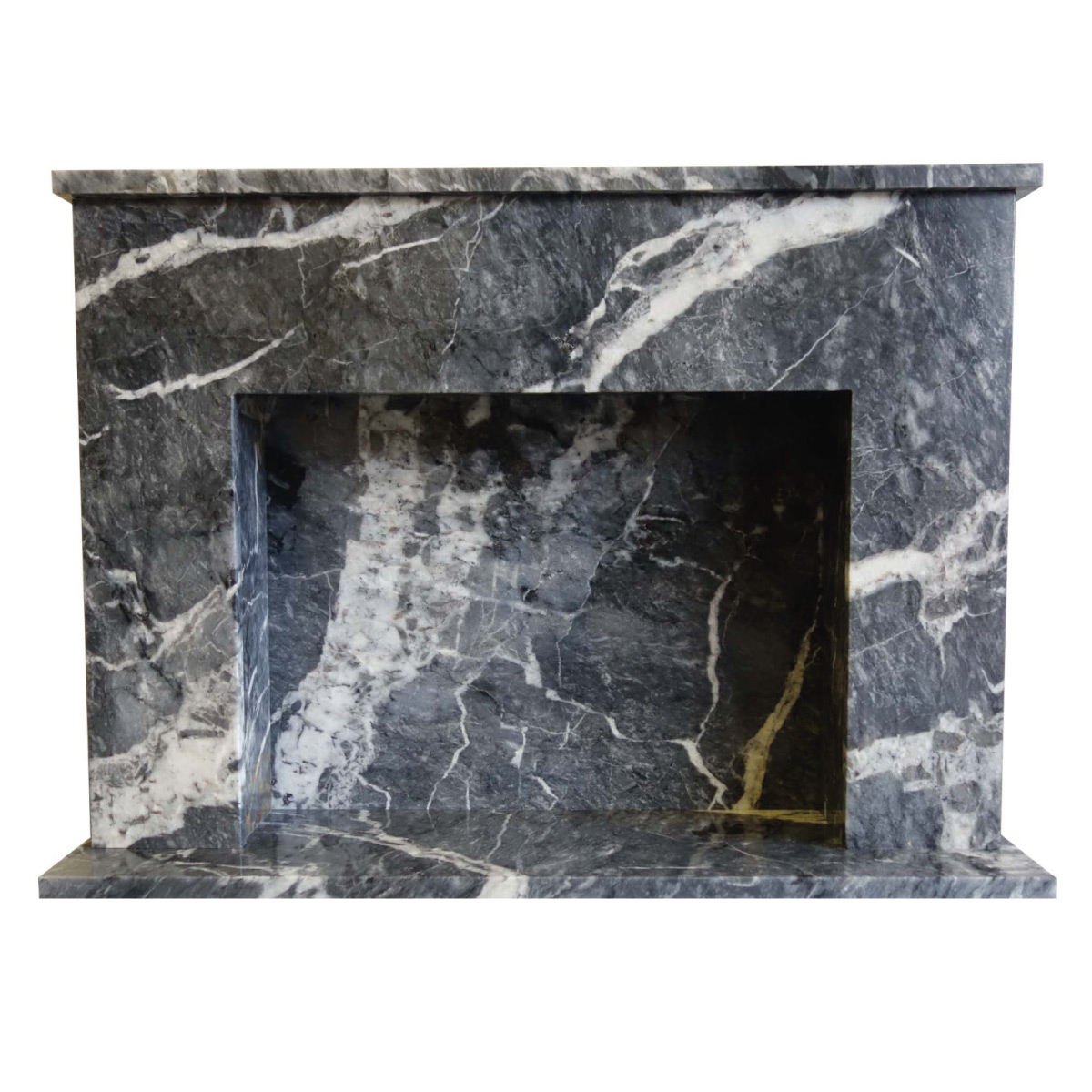 Black Veined Marble Fireplace Surround, Black Marble Fire Surround