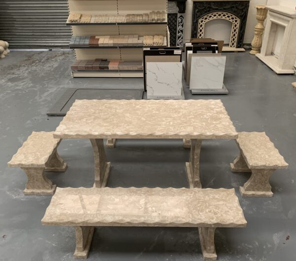 Shell Reef Beige Limestone Table and 4 Bench Set