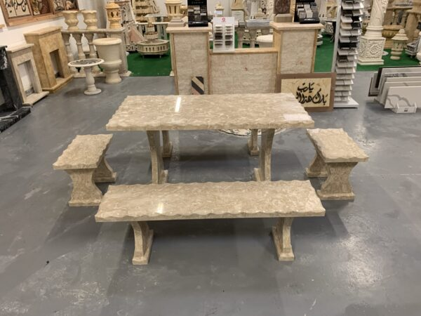 Shell Reef Beige Limestone Table and 4 Bench Set1