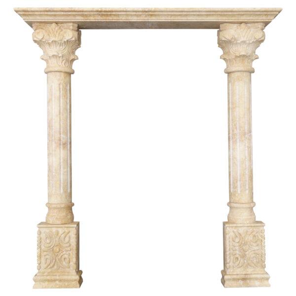 Decorative Limestone Portico with Fluted Columns co-001