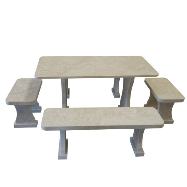 Garden Limestone Table and set of benches TA-003