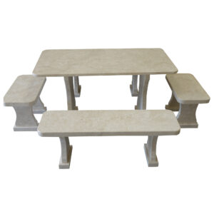Garden White Stone Table and set of benches TA-003 2
