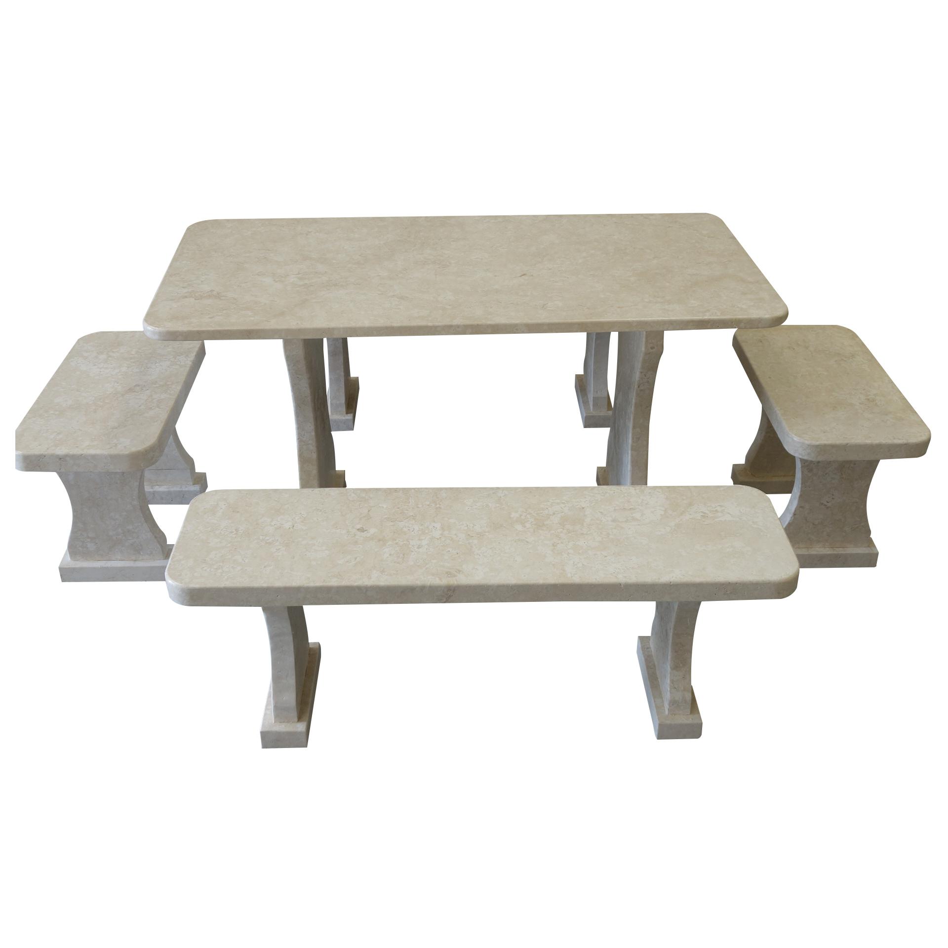 Garden White Stone Table and set of benches TA-003 2