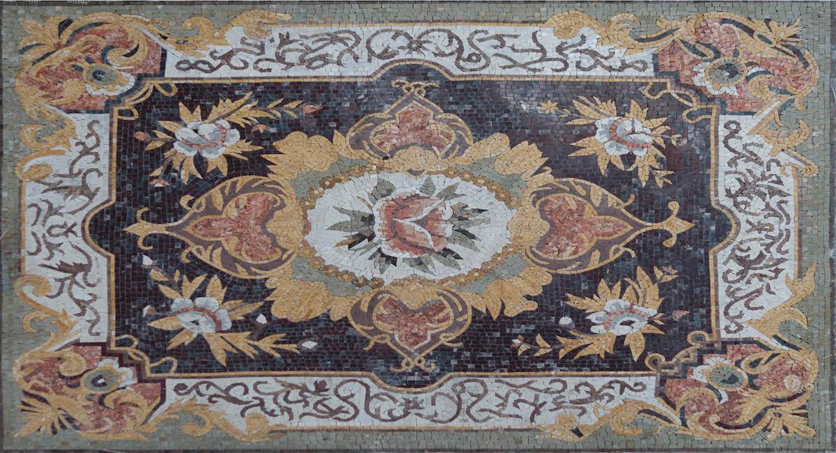 Glazed Polished Square Floral Marble Stone Mosaic Art,MA-294