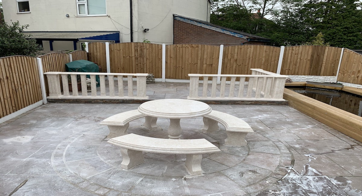 Stone Benches in the back garden