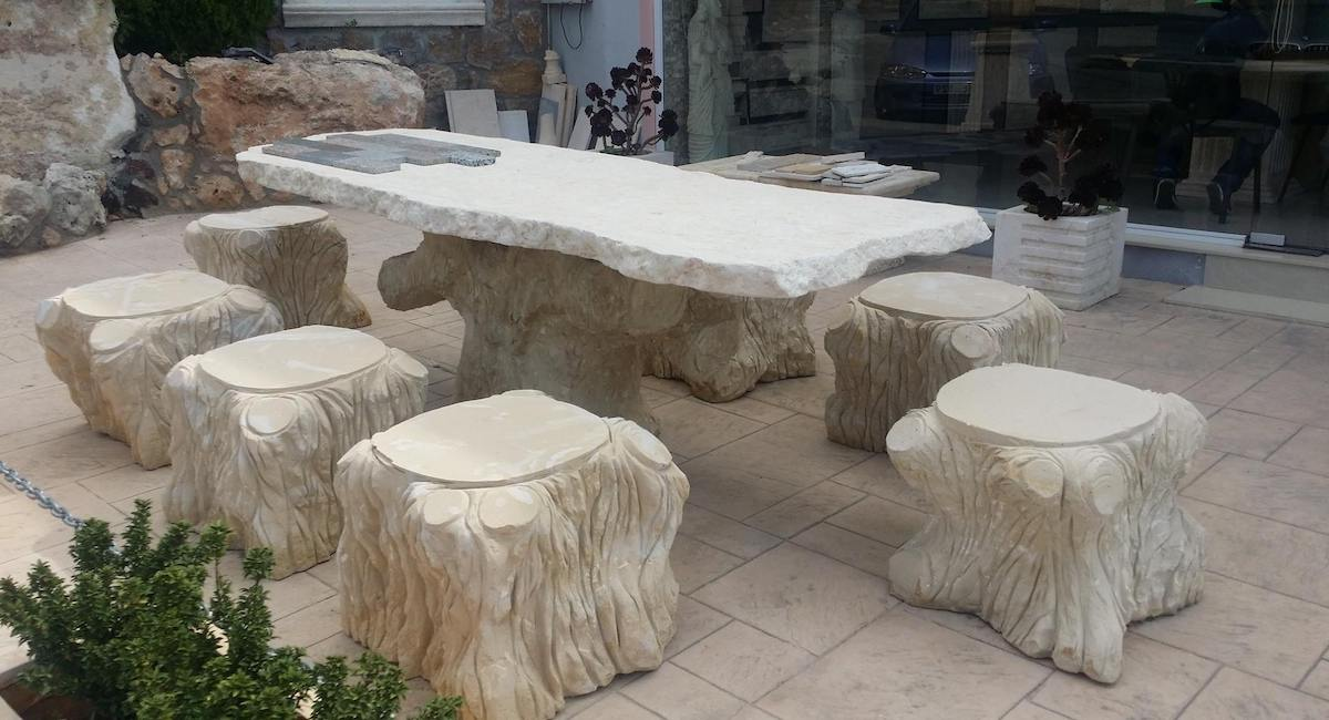 Amazing Stone table and seats for the garden