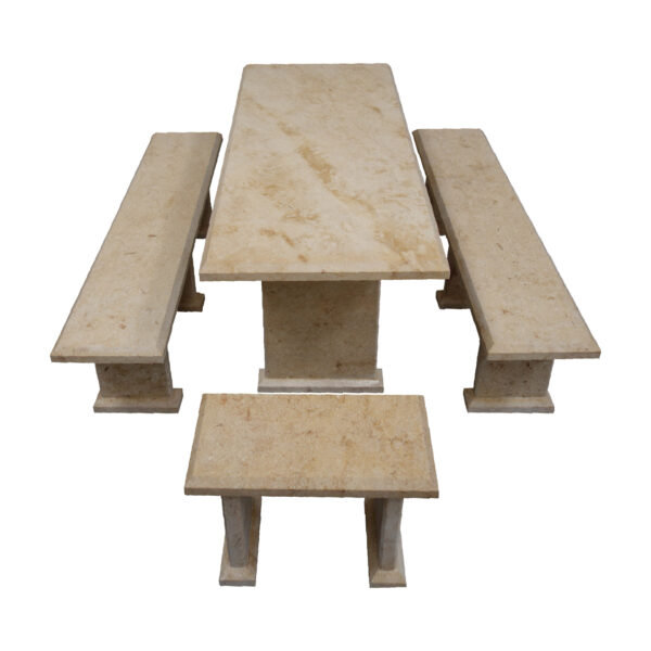 Light Yellow Limestone Table and 4 Bench Set TA-017 1