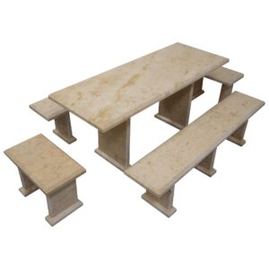 Light Yellow Limestone Table and 4 Bench Set TA-017 2