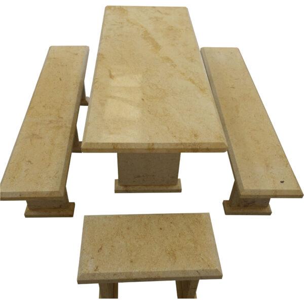 Light Yellow Limestone Table and 4 Bench Set TA-017 3
