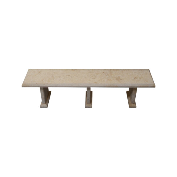 Light Yellow Limestone Table and 4 Bench Set TA-016