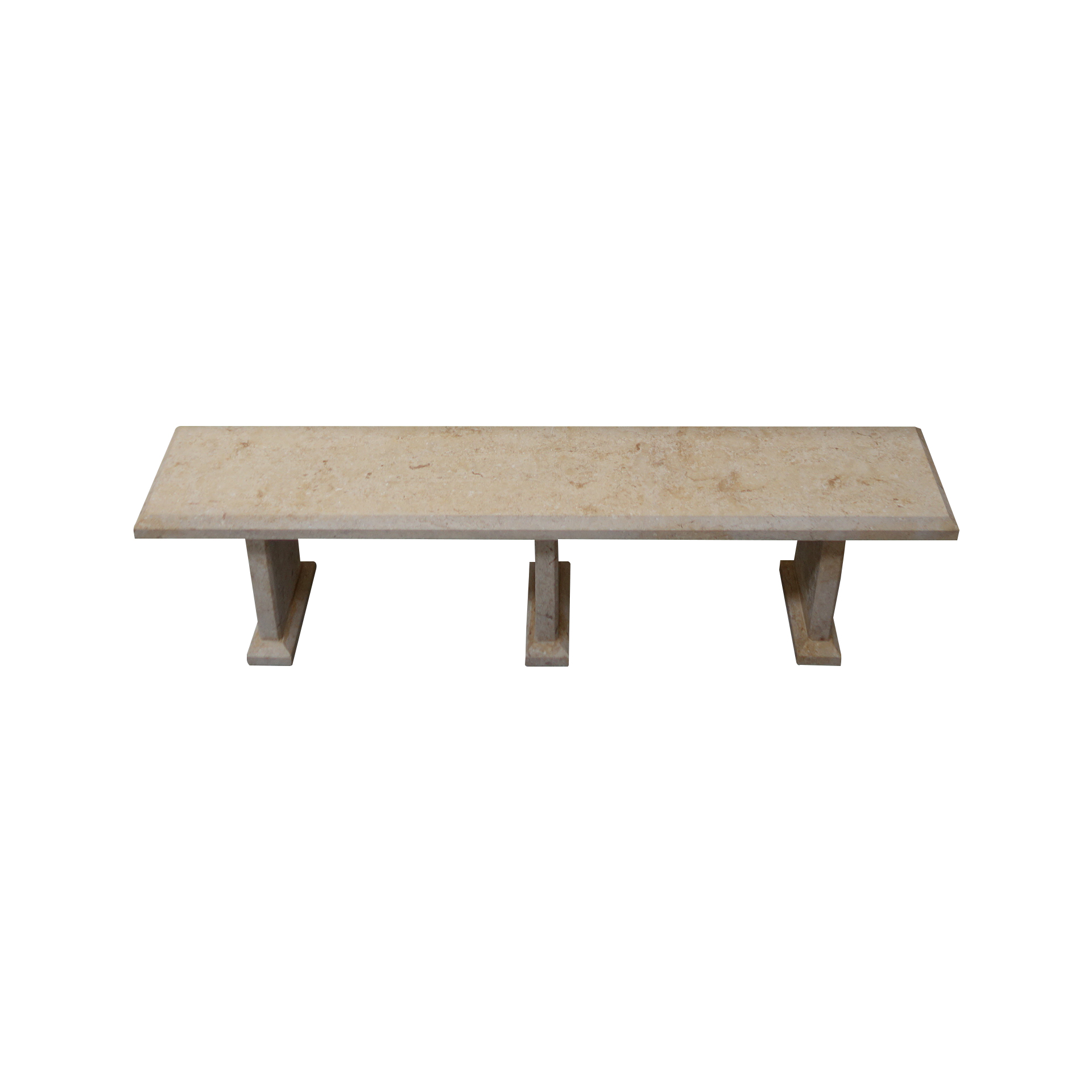 Light Yellow Limestone Table and 4 Bench Set TA-016