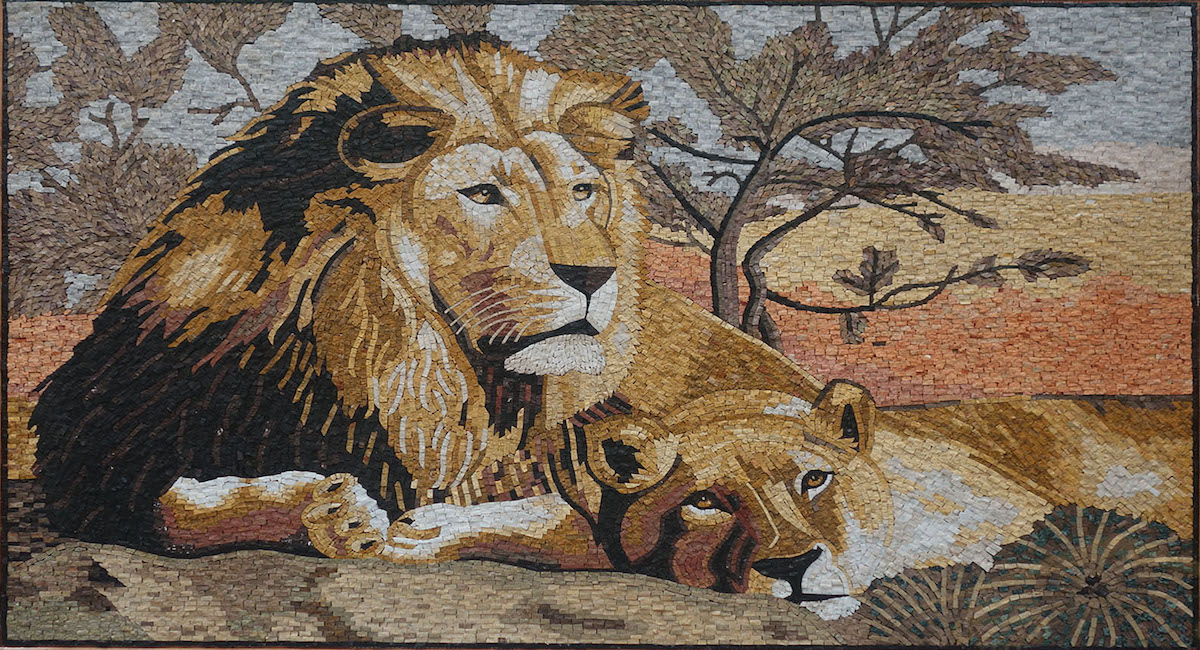 Mosaic Art Pictures | Lion and Lioness Marble Stone Mosaic Art, MA-049