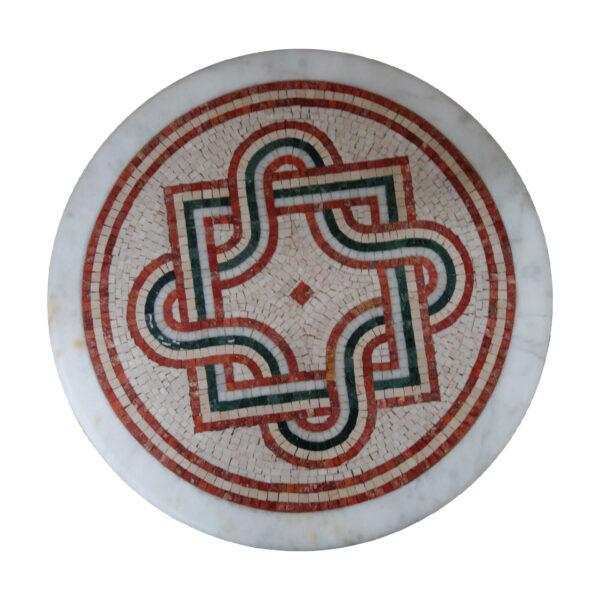 Overlapping geometric marble mosaic circular table TA-004 1