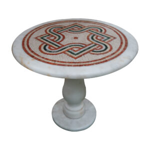 Overlapping geometric marble mosaic circular table TA-004