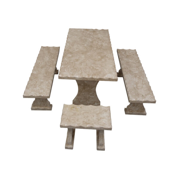 Shell Reef Beige Limestone Table and 4 Bench Set TA-002 1