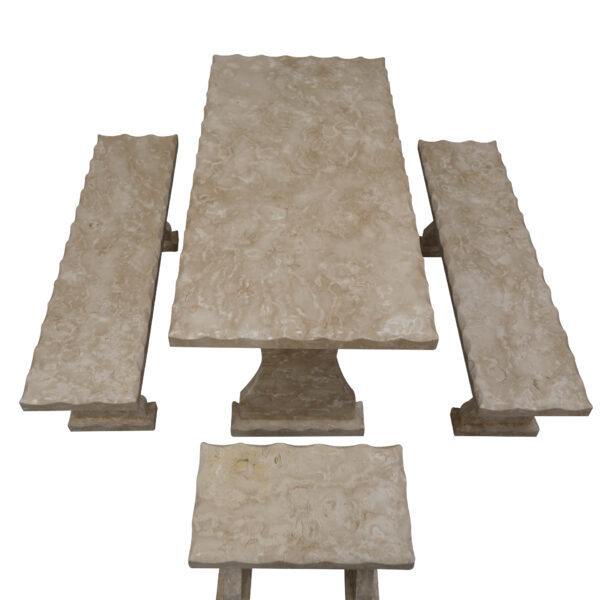 Shell Reef Beige Limestone Table and 4 Bench Set TA-002 3