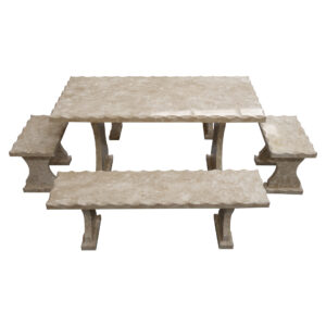 Light grey Limestone Table and 4 Bench Set TA-002