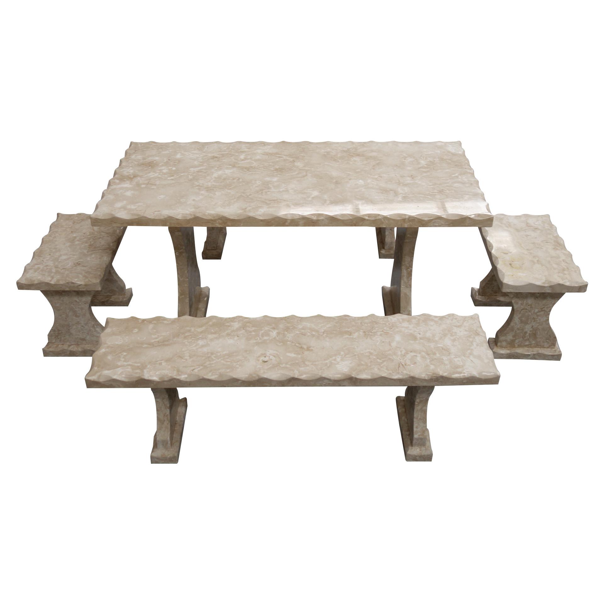 Light grey Limestone Table and 4 Bench Set TA-002