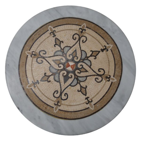 Spicate flourished marble mosaic circular table TA-009 1