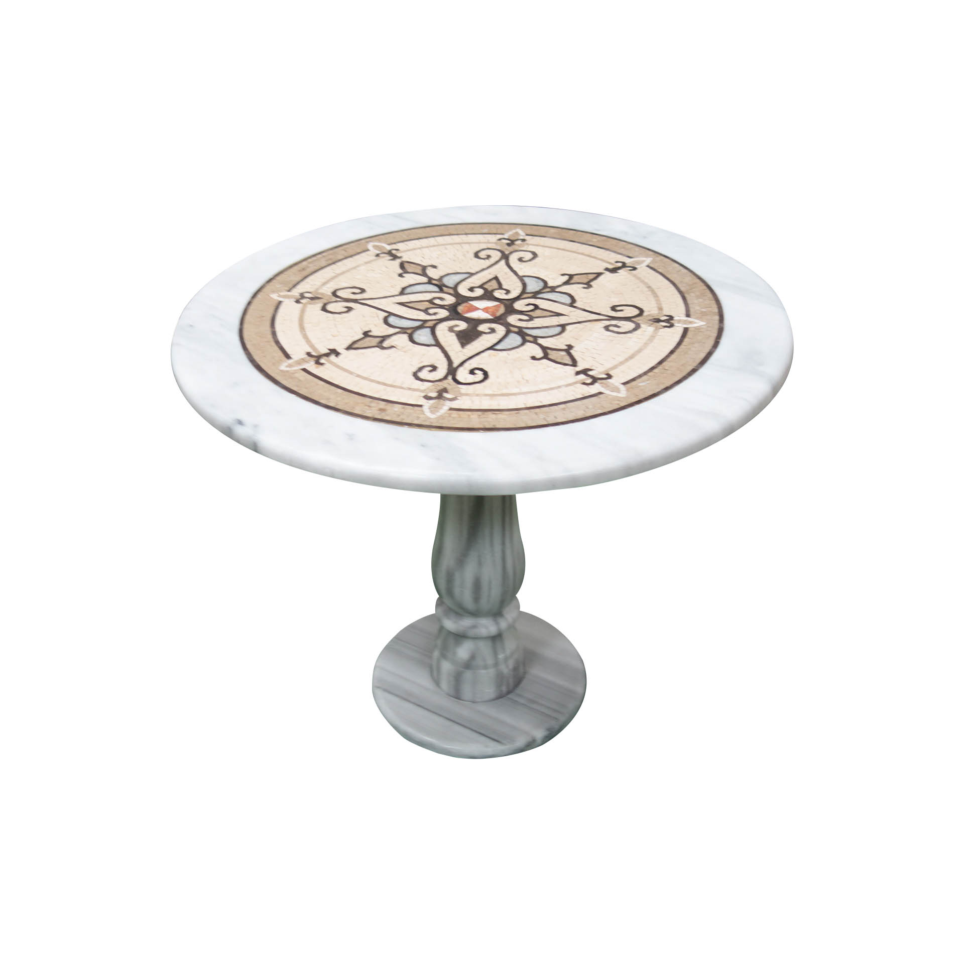 Spicate flourished marble mosaic circular table TA-009