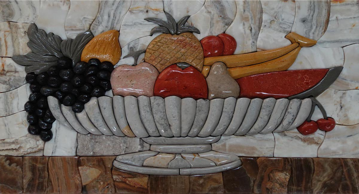 Mosaic Art Pictures | Summer Fruits Kitchen Marble Stone Mosaic Art,MAP-086