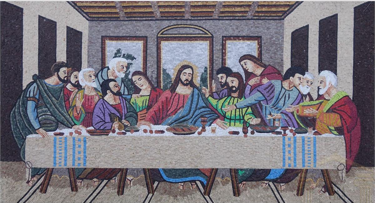 Mosaic Art | The Last Supper : Il Cenacolo Marble Stone Mosaic Art, MA-56(1)