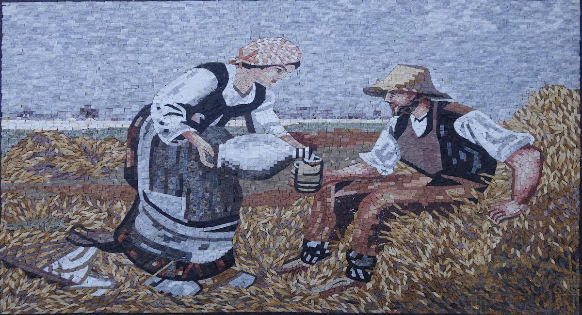 Weary farmer Marble Stone Mosaic Art, MA-101