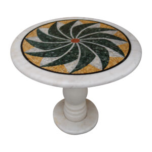 Winglike marble mosaic circular table TA-005