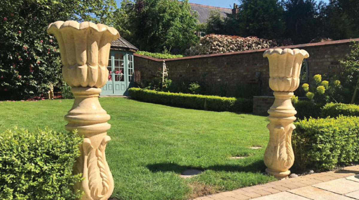 Two Urns in Garden-Furniture-by-Pisastone® | Natural Stone Supplier