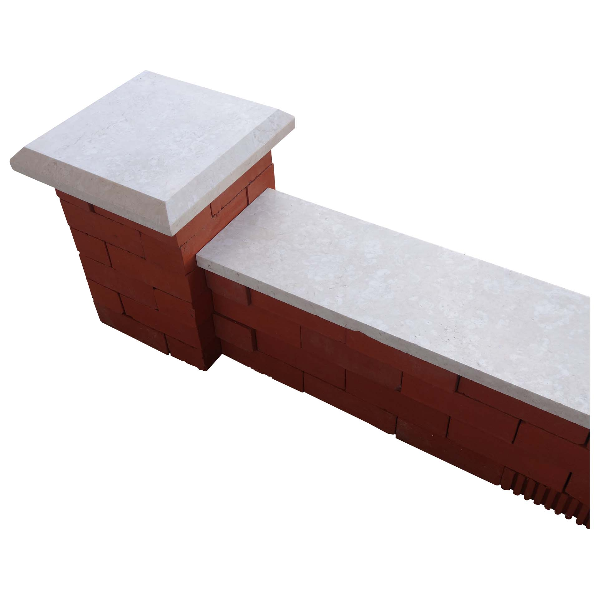 White stone pier caps, coping & Wall Coping